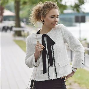 Zara Off-White Tweed Jacket Blogger Favorite